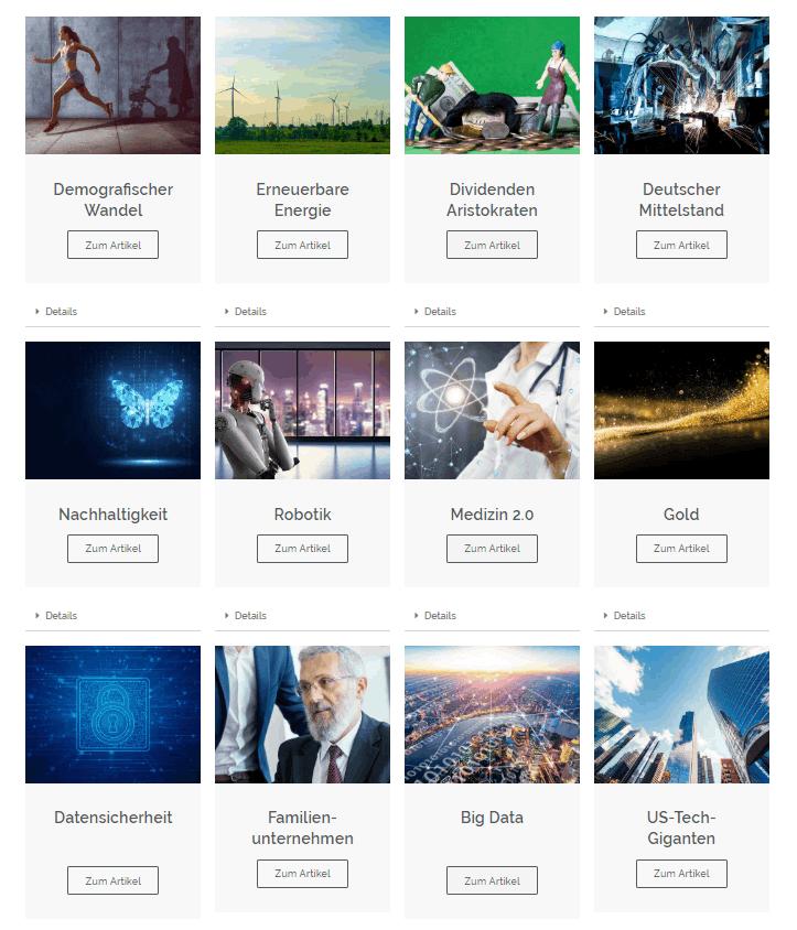 Invest2win - Anlagevielfalt dank Themen-Investments