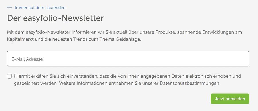 easyfolio Test - Dank Newsletter bestens informiert